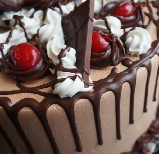 Chocolate cherry dessert cake with dripping chocolate