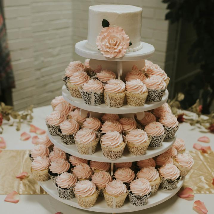 Pretty cupcake tower with floral accents