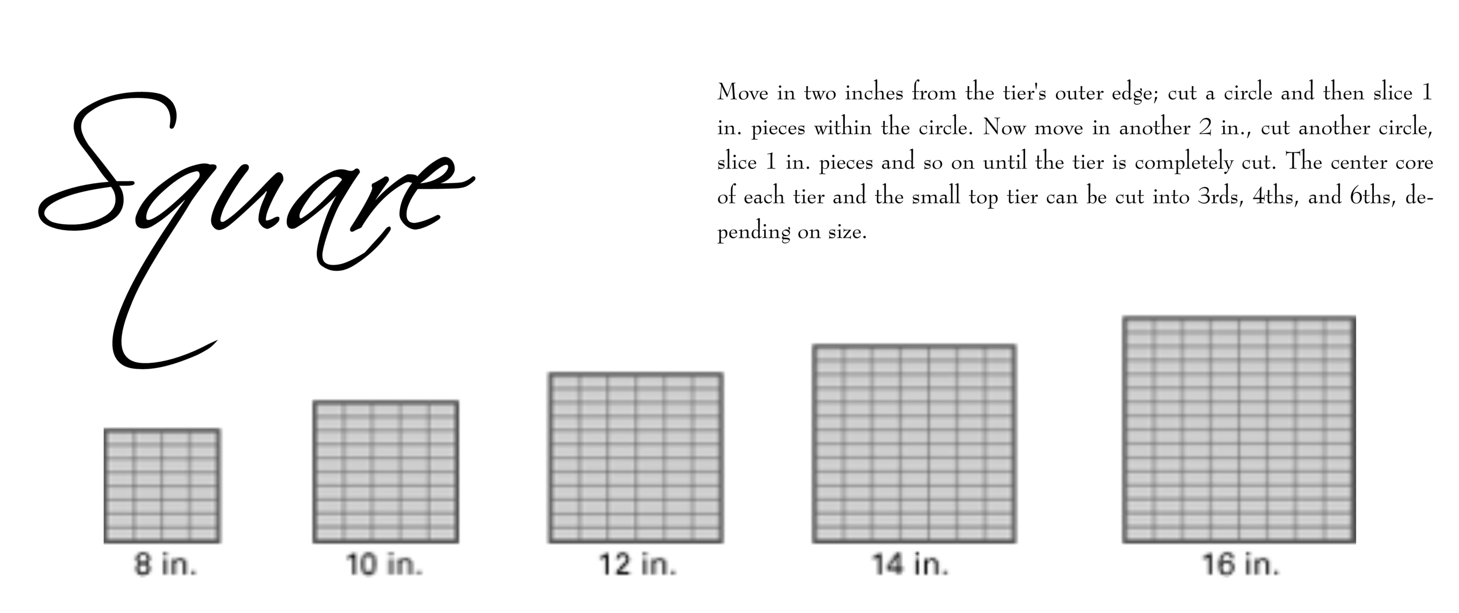 Square tiered cake cutting guide