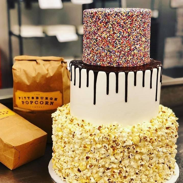 popcorn sundae tier cake