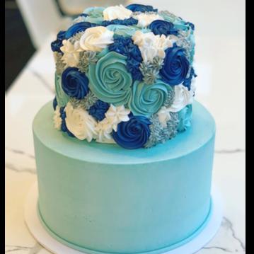 blue rosettes