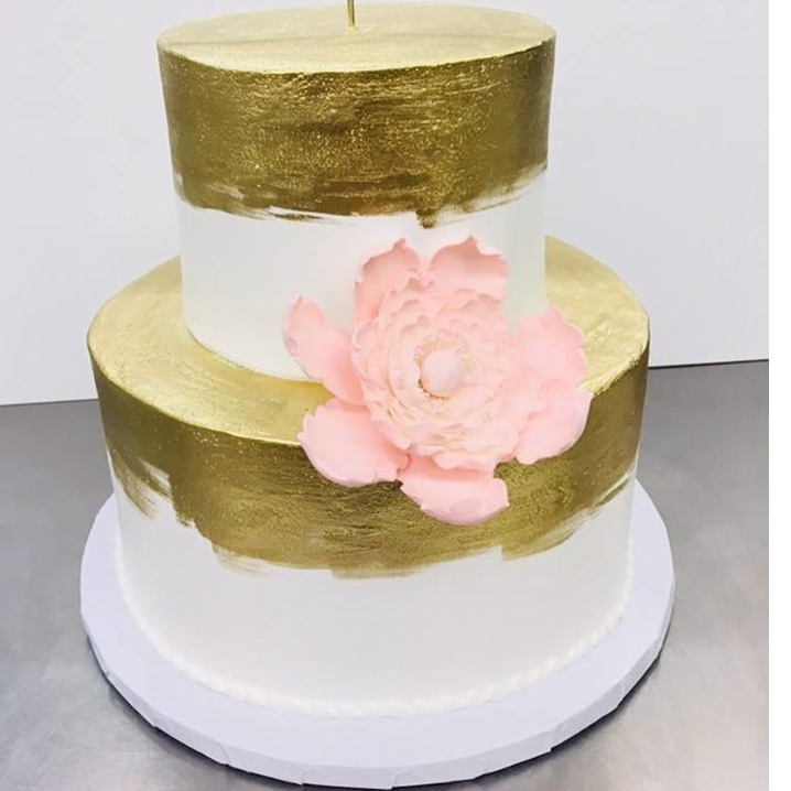 Gold highlighter painted with gumpaste peony