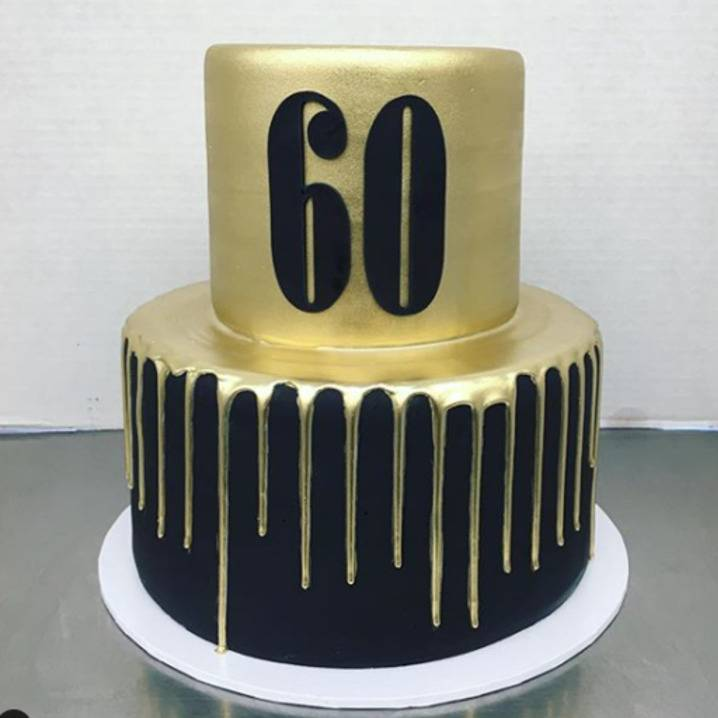 fondant covered with gold drip