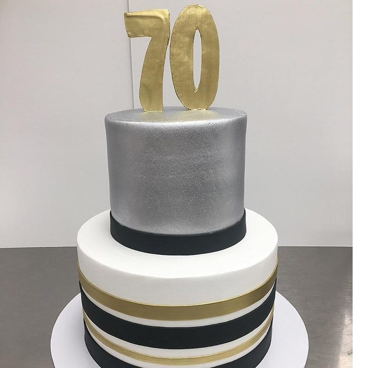 buttercream base with fondant stripes and metallic accents